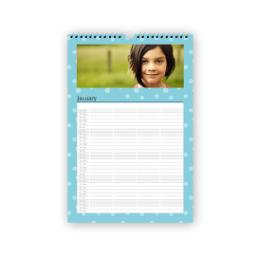 "Thumbnail for 12""x18"" Family Planner Calendar (Flexible Start Date) with Blue Spots design 1"