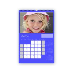 Thumbnail for A3 Portrait Calendar, with Cover (Flexible Start Date) with Blue design 1