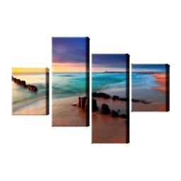 "Thumbnail for Set of 4 Canvas Wraps (2 x 12""x16"" & 2 x 12""x30"") with Coloured & Picture Wrap design 1"